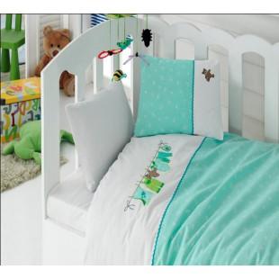 Детский бело-бирюзовый комплект в кроватку - Cotton box