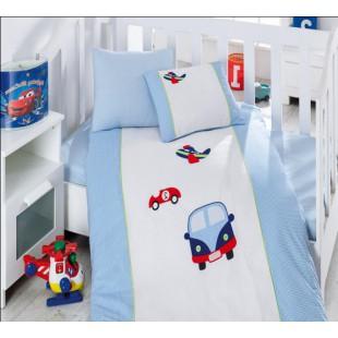 Голубой КПБ турецкий для мальчика в кроватку с машинками
