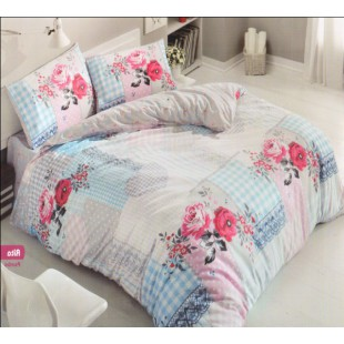 Постельное белье из ранфорса с розово-голубым фоном в стиле печворк