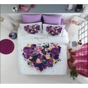 Бело-фиолетовое постельное из бамбукового волокна с сердечком из цветов