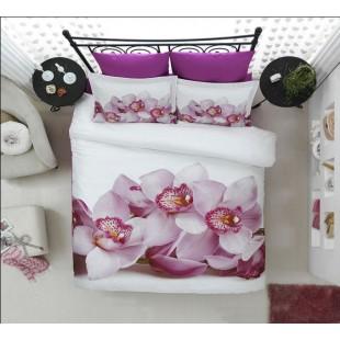 Нежнейшее бамбуковое постельное белье с светло-сиреневыми орхидеями