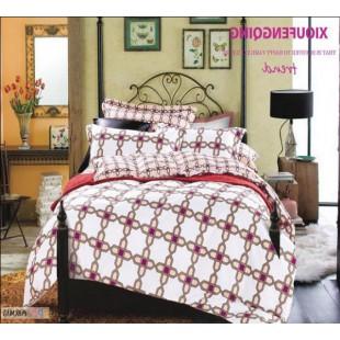 Бело-розовое постельное белье из твила с геометрическим принтом