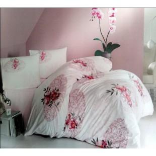 Бело-розовое постельное белье из турецкого ранфорса с крупным цветочным рисунком