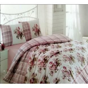 Милый комплект постельного белья бело-розовой расцветки с клеткой и цветами
