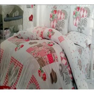 Постельное белье из турецкого хлопка бело-розовое в стиле печворк