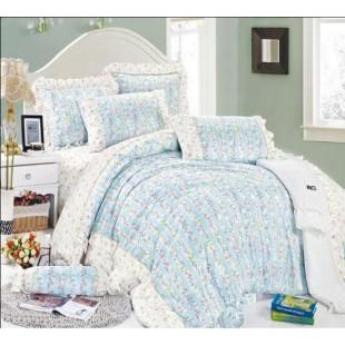Очаровательный прованс комплект сатина в бело-голубой расцветке