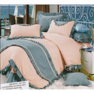 Персиковый комплект сатина Прованс с драпировками цвета морской волны