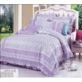 Сатиновый комплект лавандового постельного белья в разноцветный горошек