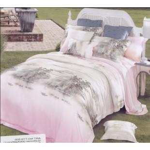 Нежно-розовое постельное белье из тенсела с черно-белым принтом