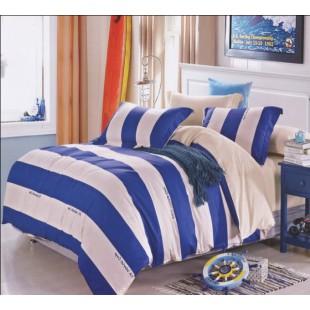 Постельное белье с бежевыми и синими полосами - твил