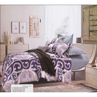 Лиловое постельное белье с полосочками и узорами комбинированное