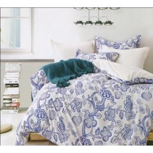 Двустороннее постельное белье молочное с синим растительным орнаментом - твил
