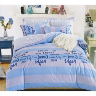 Креативное постельное белье в полоску голубое Good night