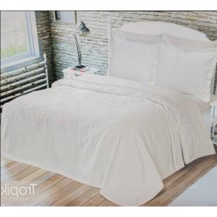 Белый набор постельного с покрывалом с кружевом
