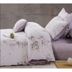 Нежно-фиолетовое постельное белье из льна с сатином - растительный узор