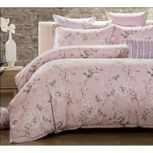 КПБ люкс из натурального льна - розовые оттенки с цветочным принтом