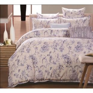 Льняной комплект постельного белья молочный с синим рисунком