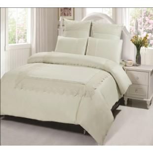 Белый сатиновый комплект постельного белья с гипюром