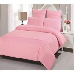 Постельное белье розового цвета с гипюром однотонное