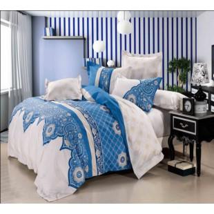 Бело-голубой сатин в восточной тематике