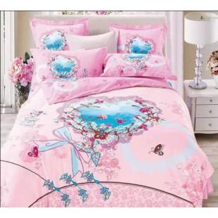 Постельное белье розового цвета с романтичной расцветкой - сатин