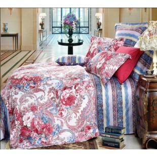 Великолепное постельное белье для королей - гобелен полосы и цветы синяя гамма