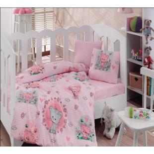 Постельное белье детский ранфорс розовый с котятами