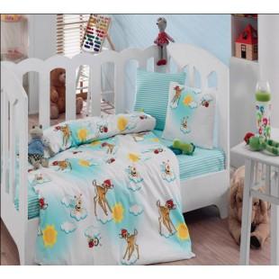 Постельное белье бело-голубое детское с оленями и пчелками - Турция
