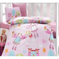 Постельное белье для девочки розовое с феями и замком - Ранфорс