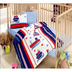 Турецкое постельное белье голубое с корабликами для мальчиков