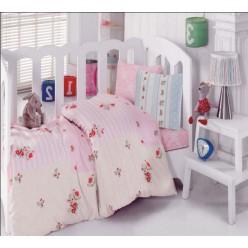 Детский ранфорс для принцессы - нежно-розовый с цветочками