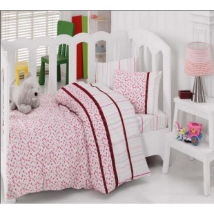 Качественное постельное белье ясельное Турция - белое с мелкий рисунок