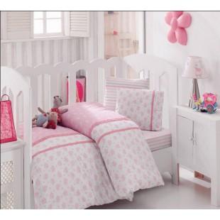 Милое постельное белье в детскую кроватку Турция - бело-розовый ранфорс
