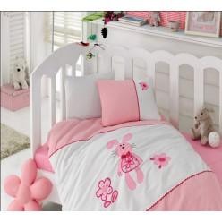 Постельное белье для детей с вышивкой - ранфорс с зайкой розовый