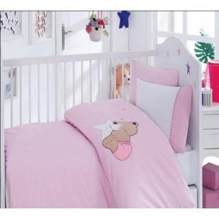 Детский комплект в ясельную кроватку для девочки с мишкой - Cotton box
