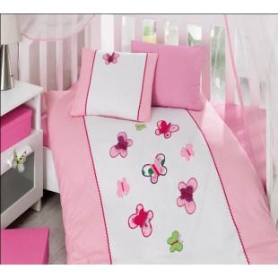 Детский КПБ Турция с вышивкой и аппликацией - бабочки розовый