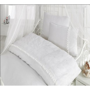 Белоснежное постельное белье для малыша в кроватку - Турция