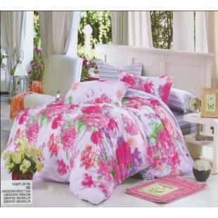 Полосатое постельное белье комбинированное с цветочками - твил
