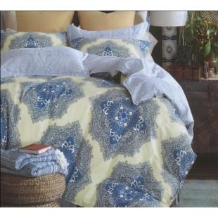 Бело-голубой комплект премиум хлопкового постельного белья с крупным орнаментом