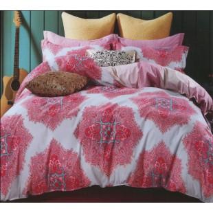 Колоритный комплект твила розовый с серым - крупный узор