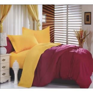 Двухцветное постельное белье - желтый с бордо