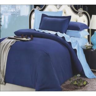 Постельное белье из сатина - темно-синее с нежно-голубым