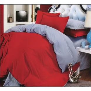 Комплект из сатина двухцветный - красный с голубым