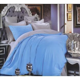 Постельное белье однотонное - серое с голубым