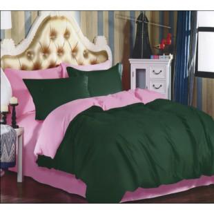 Двухцветное постельное белье розовое с изумрудным из сатина