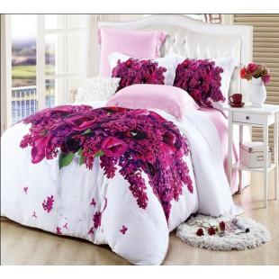Постельное белье в жемчужно-розовой гаммы с весенними цветами - 3D бамбуковое волокно