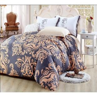 Изысканное постельное белье из бамбука сатина с крупным восточным принтом бежевой палитры