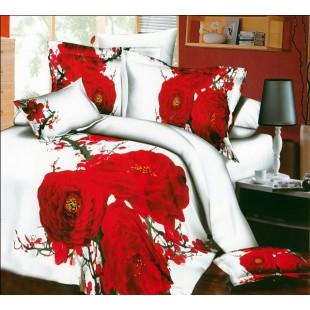 Белый сатин с красными чайными розами