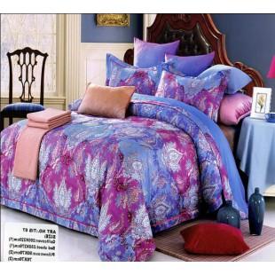 Постельное белье голубого и сиреневого цветов с узором сатин делюкс