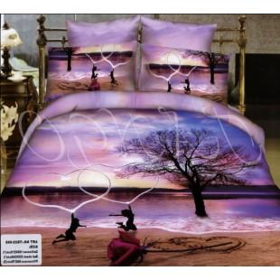 Постельное белье фиолетовой гаммы для влюбленных с сердцами
